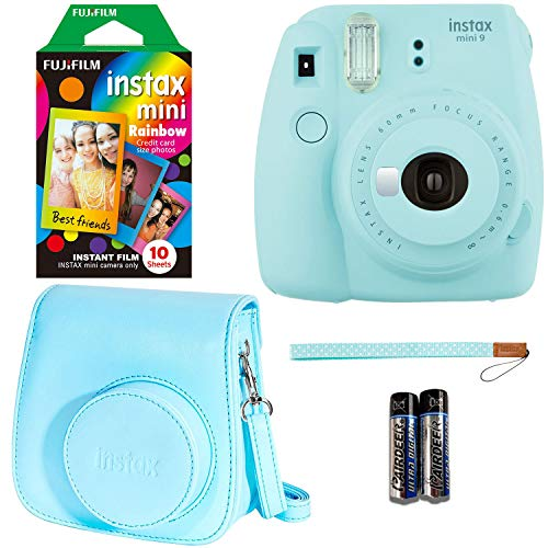 Fujifilm Instax Mini 9 - Ice Blue Instant Camera, 10 Prints Fujifilm Instax Rainbow Instant Mini Film, Fujifilm Instax Groovy Camera Case - Blue (Fuji Digital Camera Case)