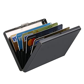 33ba9736a Daoseng Cartera Pequeña de Metal Anti RFID de - Tarjetero Impermeable  Portatarjetas Metálico de 6 Ranuras para Hombre y Mujer - Tecnología de  Bloqueo RFID ...