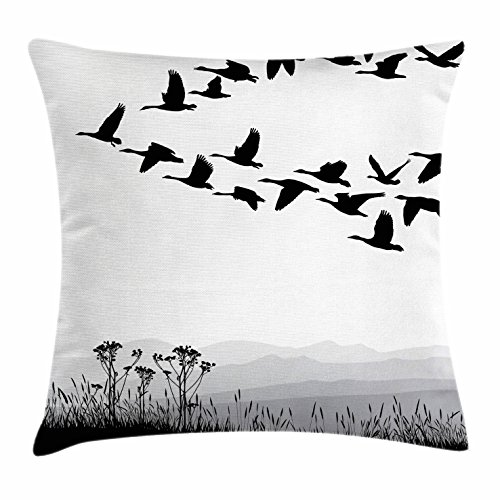 Ambesonne Mountains Throw Pillow Cushion Cover, Monochrome Silhouette of Flying Geese in Greyscale Landscape Background, Decorative Square Accent Pillow Case, 28 X 28 Inches, Black White Grey - Flying Geese Quilt Shop