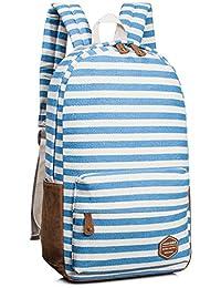 Leaper Canvas Striped Backpack School Book Bag Laptop Rucksack Daypack Blue