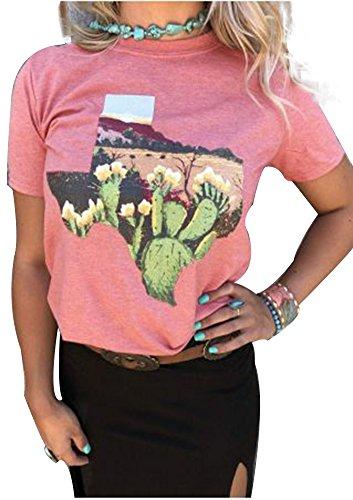 MK shop limited Women Summer Short Sleeve Floral Cactus Texas T-Shirt Tops Blouse