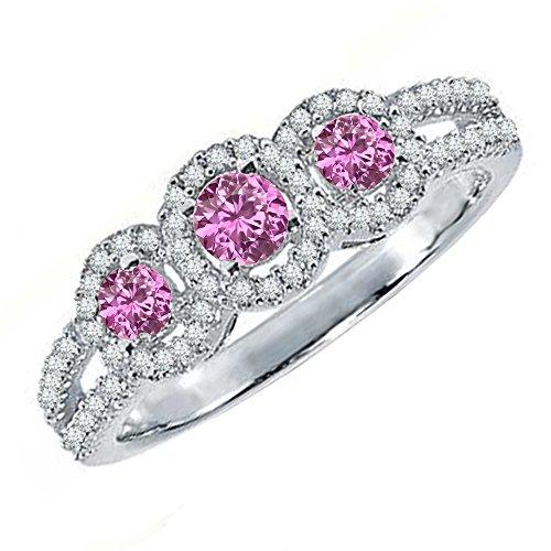 14K White Gold Round Pink Sapphire & White Diamond 3 Stone Split Shank Engagement Ring (Size 5) (Round Pink Sapphire Ring)