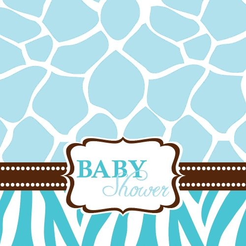 Creative Converting Baby Shower Wild Safari Blue 16 Count 3-Ply Paper Lunch Napkins -