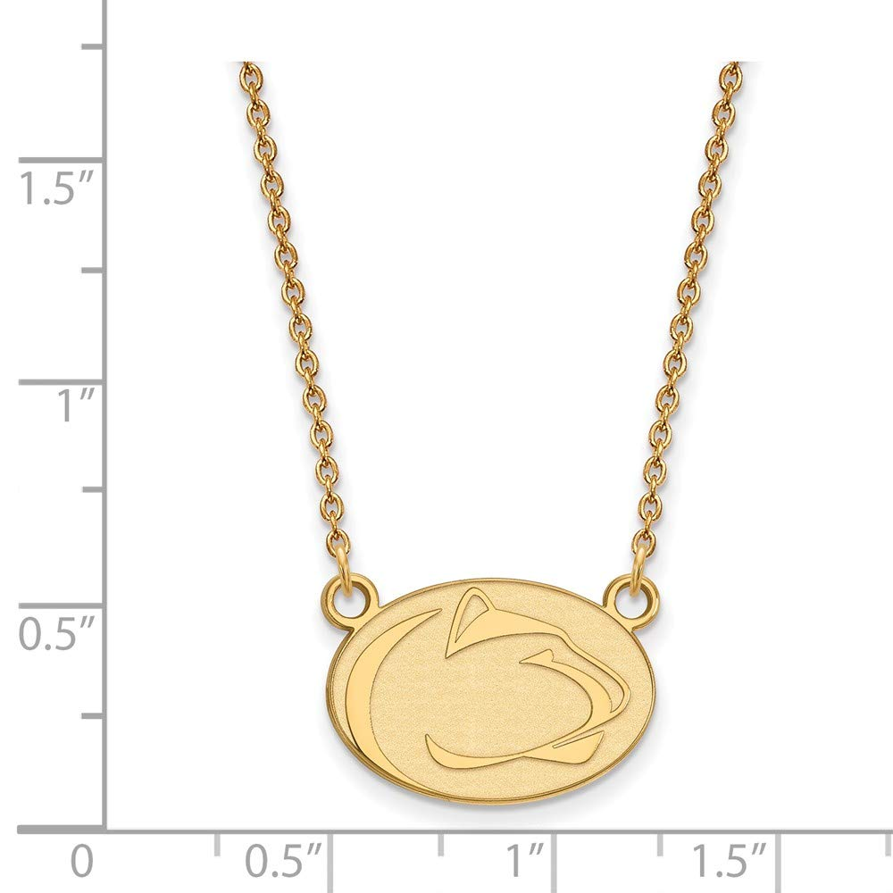 Solid 925 Sterling Silver with Gold-Toned Penn State University Small Pendant with Necklace