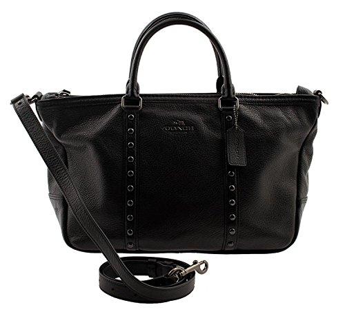 COACH Central Satchel with Enamel Stud in Black, F57513 QB/BK (Black Dress Ashley In)
