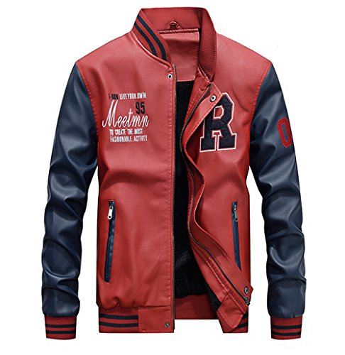 Lavnis Men's Faux Leather Jacket Casual Baseball Stand Collar Slim Fit Coat Red ()