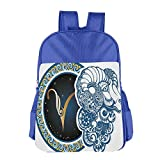 Haixia Kids' Boys'&Girls' School Backpack Zodiac Decor Astrological Aries Symbol with Horned Head Ram Goat Terrestrial Event Image Blue Gold