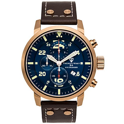 Tschuy-Vogt SA A15 Crusader Mens Swiss Chronograph Watch - Brown Genuine Leather Strap, Blue Dial, Rose Gold Case