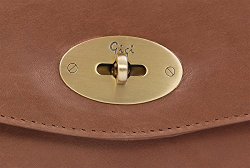 GIGI - OTHELLO 8757 - Cartera de mano con cierre giratorio - Clutch Bag - Cuero Marrón