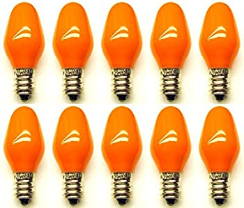 CEC Industries #7C7 CO 120V (Orange) Bulbs, 120 V, 7 W, E12 Base, C-7 shape (Box of 10)