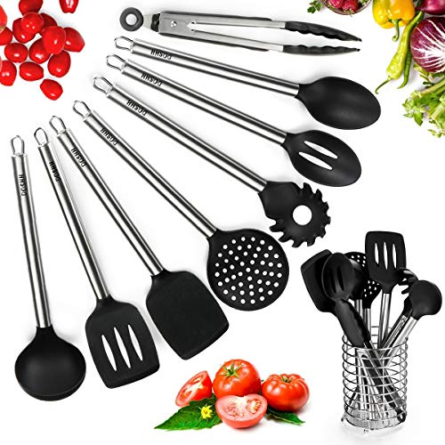(Kitchen Utensil Set 9 Cooking Utensil Set, Silicone & Stainless Steel Spatula Set & Utensil Holder, BPA Free, Non Toxic Turner Tongs Spatula Spoon Set, Great Kitchen Tools for Gift)