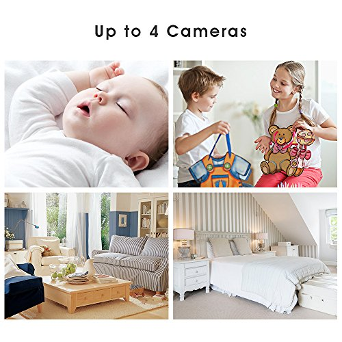 Image of the DBPOWER Digital Sound Activated Video Record Baby Monitor with 4.3-Inch Color LCD Screen, Remote Camera Pan-Tilt-Zoom, Lullaby, Night Vision, Two Way Audio and Recording, Compatible Mount Shelf