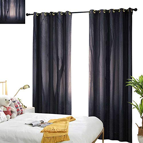 WinfreyDecor Light Luxury high-end Curtains Forest Path Through Dark Deep in Forest with Fog Halloween Creepy Twisted Branches Picture Noise Reducing W96 x L84 Pink Brown