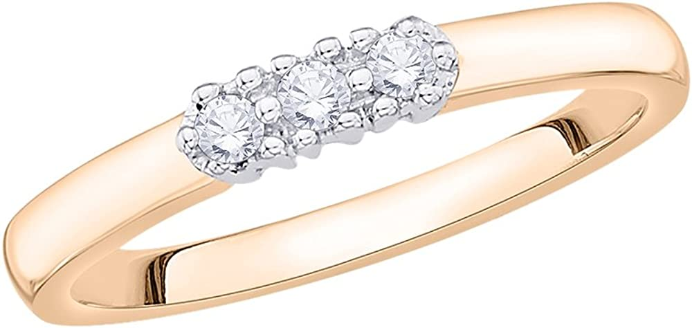 G-H,I2-I3 1//10 cttw, Size-6.75 3 Diamond Wedding Band in 10K Pink Gold