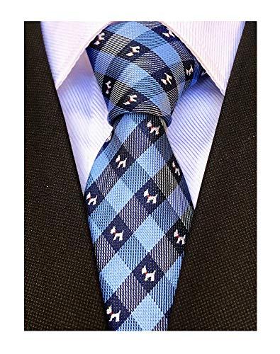 (Mens College Blue Dog Silk Skinny Ties Jacquard Gentlemen Stylish Necktie Gifts for Husband Son)