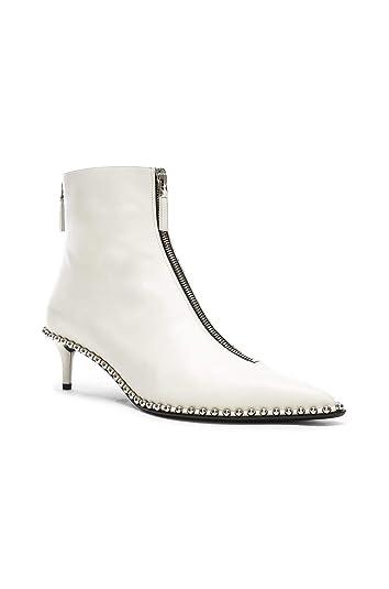 1d36c879161 Alexander Wang Women s Eri White Leather Studded Low Boots Zipper Front ...