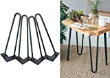 "16'' Hairpin Legs 3/8"" Thick Satin Black Two-Rod Mid Century Modern Set of 4 Heavy Duty Metal Table Legs"