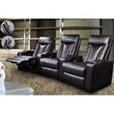 3 Seated Home Theater with Adjustable Headrest Black Leather