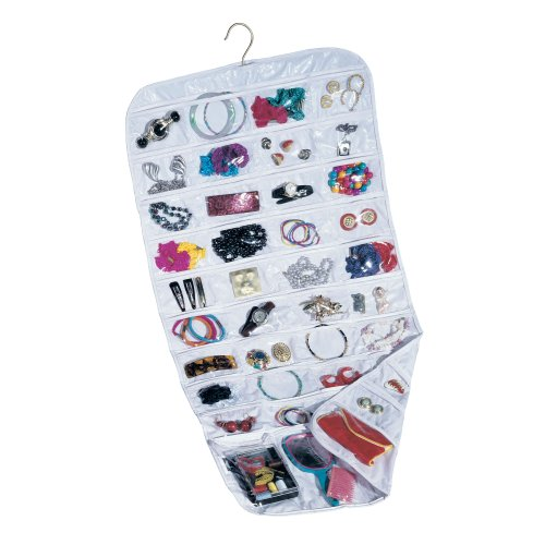 Household Essentials 01943 Hanging Jewelry Organizer - 80-Pockets for Necklaces, Bracelets, and Accessories - White Vinyl