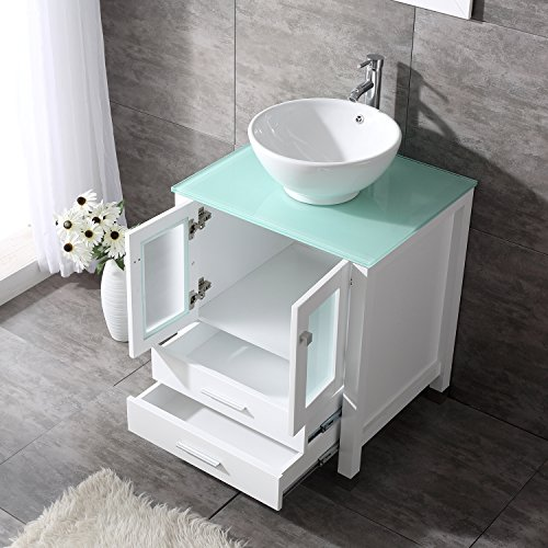"""Moveable Solid Wood Ceramic Buffet Kitchen Sink Cabinet: BATHJOY 24"""" White Wood Bathroom Vanity Cabinet Round Bowl"""