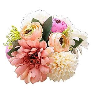 KMSUNME Artificial Flowers Wedding Decorations Set Silk Chrysanthemum Flowers Artificial Camellia Bouquet Home Party Decor 104