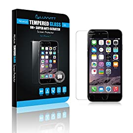 Luvvitt Tempered Glass Screen Protector for Apple iPhone 7 (2016) and iPhone 8 (2017) - Crystal Clear 42 iPHONE 7 TEMPERED GLASS SCREEN PROTECTOR: Compatible with iPhone 7. Doesn't interfere with the fingerprint home button. PREMIUM GRADE: Japanese Asahi Tempered glass with 9H+ scratch resistant surface (almost as hard as a diamond with highest resistance at 10H) ULTRA CLEAR: Shock-resistant layer under the glass. High touch sensitity.
