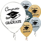 Graduation Balloons Gold/Silver/Black/White – 12 (20 per package), Health Care Stuffs