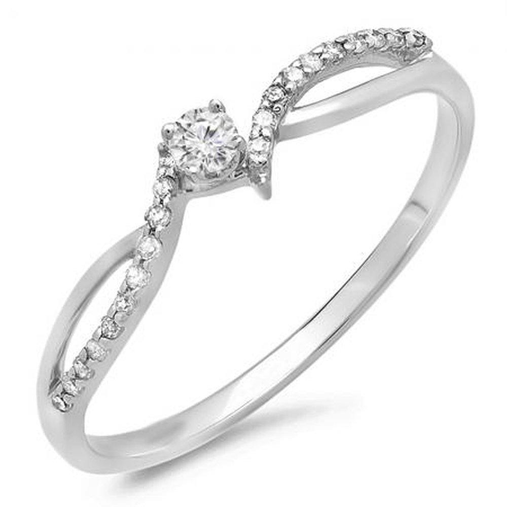 0.15 Carat (ctw) 10K White Gold Round Diamond Ladies Split Shank Promise Engagement Ring (Size 9.5)