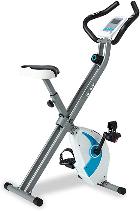 Insgym Folding Stationary Exercise Bike - Indoor with 8-Level Adjustable Magnetic Upright Workout Trainer with Comfortable Seat Cushion and LED Monitor for Adult IXB230