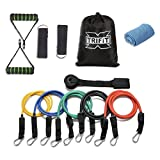XTriFit Resistance Band Set - 11 Pcs with Door Anchor, Handles, Ankle Straps - Stackable Up To 80lbs - For Resistance Training, Physical Therapy, Home Workouts - Gift Cooling Towel