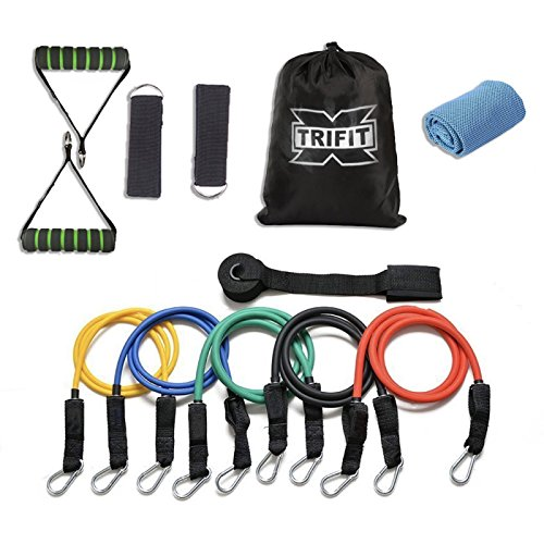XTriFit Resistance Band Set - 11 Pcs with Door Anchor, Handles, Ankle Straps - Stackable Up To 80lbs - For Resistance Training, Physical Therapy, Home Workouts - Gift Cooling Towel by XTriFit