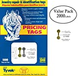 2000 Piece Value Pack Jewelry Repair, Price and Indentification Tags/Tyvek Self Adhesive Rectangle/Dumbbell/Barbell Jewelry Price Tags (Short - 1 3/8'' x 1/2'' (35 x 12mm), Gold)