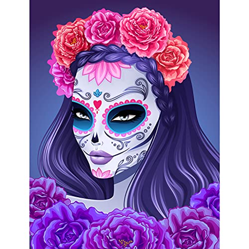 Diamond Painting Kits for Adults Kids Beginners, 5D Full Drill Skull Women Diamond Art by Numbers with Accessories Tools,Gem Art Painting Paint by Diamonds Dotz,Perfect for Home Wall Decor(14x18In)