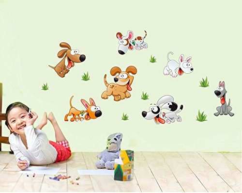 Happy-Dogz-Baby-Nursery-Animal-Wall-Decals-for-Kids-Rooms-Baby-Boys-Girls-Bedroom-Peel-StickRemovable-Vinyl-Wall-Stickers-Lovely
