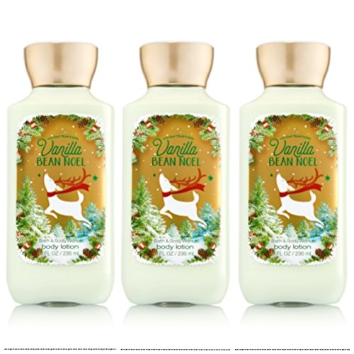 Bath and Body Works Vanilla Bean Noel Holiday Tradition Body Lotion 8 Ounce Full Size Lot of 3 Reindeer (Noel Reindeer)