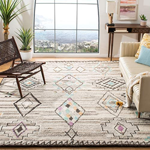 Safavieh Kenya Collection KNY826A Handmade Natural and Multi Premium Wool Area Rug 8' x 10'
