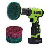 Kichwit 4 inch Drill Power Brush Tile Scrubber Scouring Pads Cleaning Kit, Includes Velcro Attachment, 3 Red Pads and 3 Stiff Green Pads, Heavy Duty Household Cleaning Tool (Metal Shaft Included)