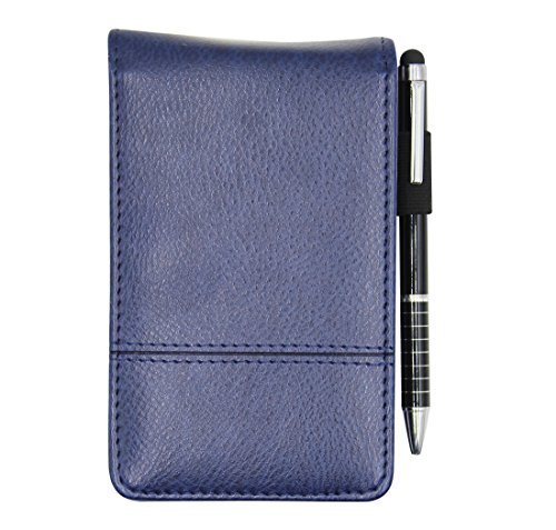 Small Pocket PU Leather Business Notebook Cover Jotter Multifunction A7 Mini Notepad with 8 Digital Calculator,30 Pages Note Paper, 0.7 Metal Rotating Pen,and Pen Holder (Deep ()