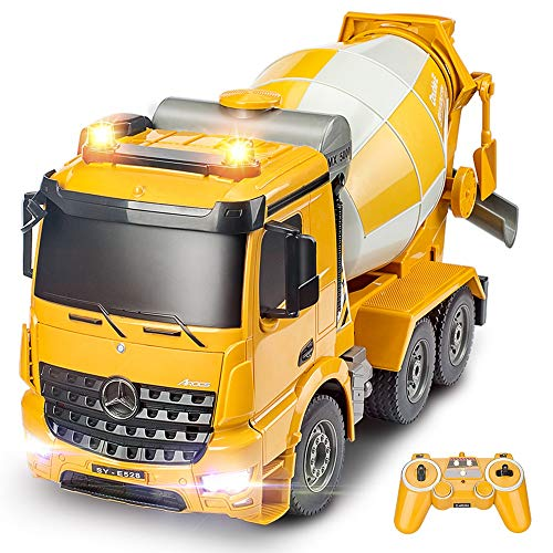 BOUBLE E Remote Control Cement Mixer 8 Channel RC Concrete Mixer Auto Dumping with Lights and Sounds Rechargeable Battery -