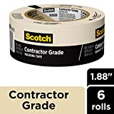 Scotch Masking Tape, Contractor Grade, 1.88-Inch by 60.1-Yard, 6-Roll
