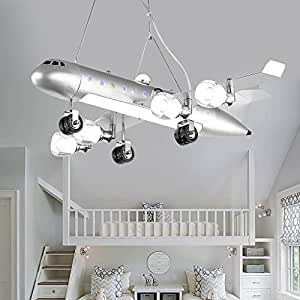 MILUCE Children's room chandeliers LED eye protection creative cartoon amusement park airplane lights ( Color : Warm white light )