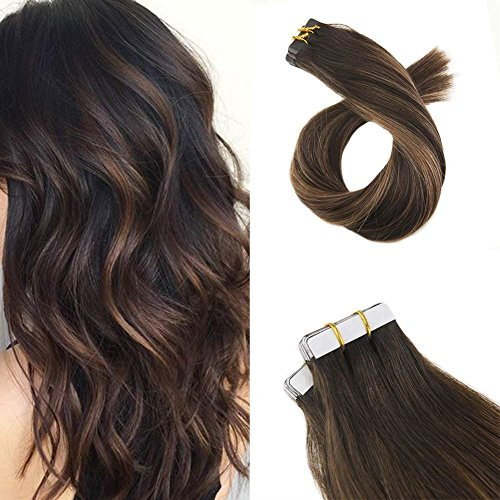 Moresoo 16 Inch Remy Hair Extensions Tape on Hair Real Human Hair Glue in Human Hair #2 Ombre to #6 Highlighted with #2 Brown Adhesive Human Hair Extensions 100 Grams 40 PCS