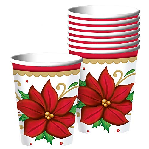 Botanical Cup - Winter Botanical Christmas Paper Cups For Party, 9 Oz., 50 Ct.
