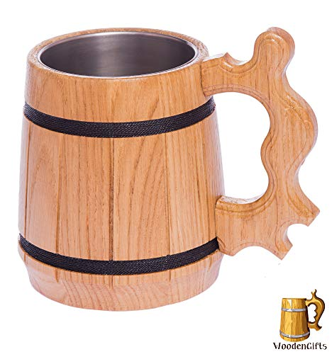 WoodenGifts Wooden Beer Mug (20oz): Handmade Oak Wood, used for sale  Delivered anywhere in USA