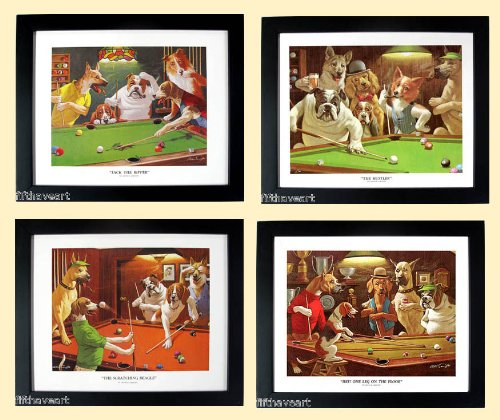 Framed Pool Dogs Playing (Dogs Playing Pool Art Set Framed Posters by Arthur Sarnoff A+quality)
