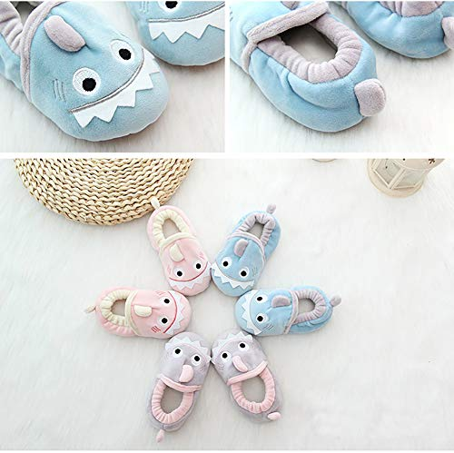 SDBING Toddler Baby Boys Girls Cute Cartoon Shark Shoes Soft Anti-slip Winter Home Slippers 6-24 Months (12-18 Months, Cute Shark Pink) by SDBING (Image #3)