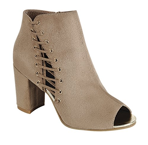 Cambridge Select Womens Open Toe Side Lace Corset Inner Zip Chunky Block Heel Ankle Bootie Taupe Imsu 5UoG5MmOdD