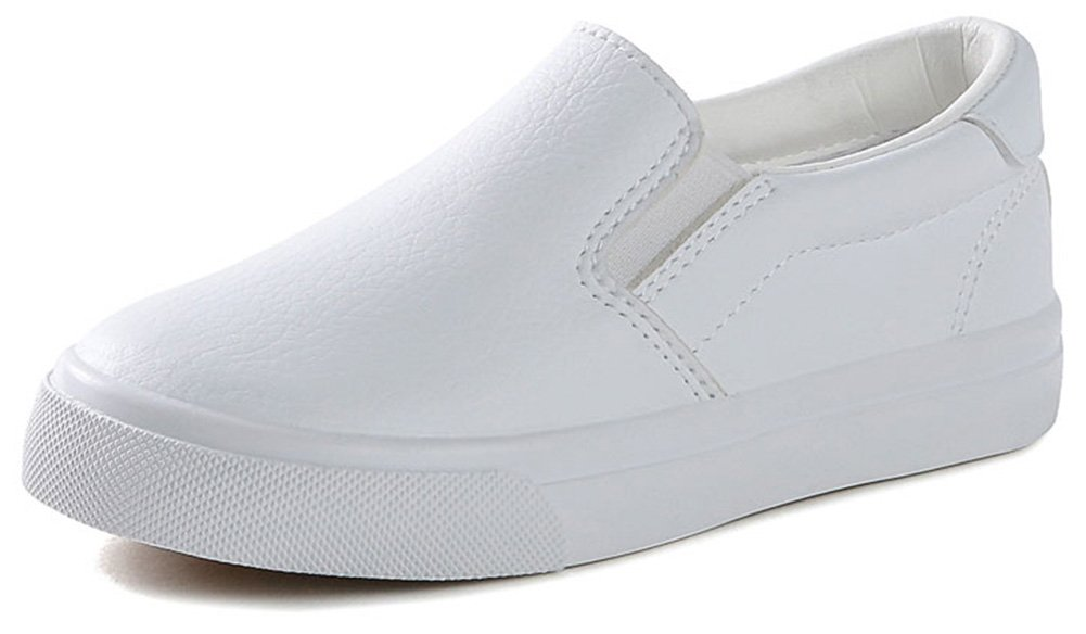 SFNLD InStar Kids' Casual Round Toe Slip On Low Top Walking Sneakers Loafers Shoes White 10.5 M US Little Kid