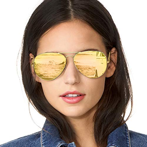 SODQW Aviator Sunglasses Women Polarized, Mirrored Lens UV Protection, Fashion Large Frame Eyeglasses (Gold Frame/Rose Gold Mirror Lens)