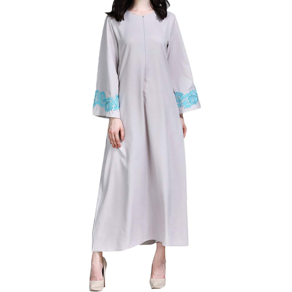 Women Summer High Waist Maxi Dress, Long Tunic Belt Puff Sleeve Embroidered Muslim Asian Robe Gowns Dress M-2XL